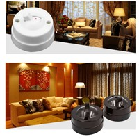 4pcs White Retro 2Switchs and 2Sockets Wall Switch Electrical Socket Mounted Single Two-hole Outlet Power Strip Circle White