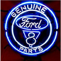 Business Custom NEON SIGN board Forautomobile Ford V8 Motor Company REAL GLASS Tube BEER BAR PUB Club Shop Light Signs 16*15""