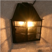 Mediterranean Villa Outdoor Moistureproof Wall Lamps Landscape Wall Lamps Black House Shape Wall Lamps Corridor Wall Lamps