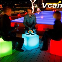 PE plastic Waterproof Rechargeable Led Illuminated Furniture indoor bar chairs