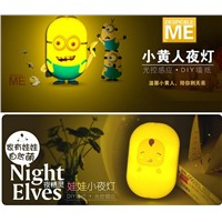 5 pieces Despicable Me Minions Toy animals LED NightLight 220V 2W 3D Wall Sticker Lamp DIY Light Wallpaper Night Lights