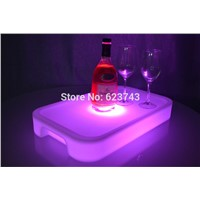 Waterproof LED Light Up Square Serving Tray Multi Colors Rechargeable LED fruit drinks trays Holder light + Remote Controller