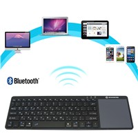 Zoweetek K12BT-1 Ultra Slim Wireless  Hebrew Bluetooth Keyboard Touch Pad Thin Light Portable for Android 3.0 Windows XP 7 8
