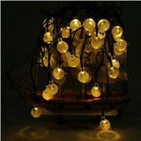 2017  Solar Powered Led Outdoor String Lights 6M 30LEDs Crystal Ball Globe Fairy Strip Lights for Outside Patio Party Christmas