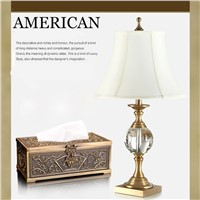 Hot sale Bronze 70cm top crystal table lamp European elegance with atmospheric indoor lighting decoration LED lamp
