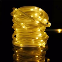 50LED 23ft Holiday Solar Powered Light Strip Waterproof Outdoor Home Decor Warm White