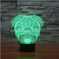 Cute Pug Dog Night Light Baby Animal Led Lights Table Lamps For Home Decor Promotional Gifts For kids