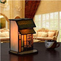 Creative Small House Tiffany Art Glass Led E14 Table Lamp For Living Room Bedroom Wedding Gifts Night Light Ac 80-265v 2259
