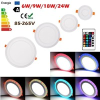 Acrylic RGBW Dual Color 6W 9W 18W 24W LED Recessed Panel Ceiling Light