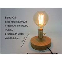 Vintage Loft Wood Wooden Table Lamp Light Edison Bulb E27 AC 110V/220V For Living Room Bedroom Bedside Home Decor Coffee Shop