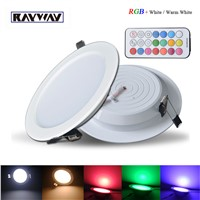 Professional Dimmable LED Panel Light 10W RGB+white/Warm white AC 85-265V Ceiling Downlight + timer remote control + led driver