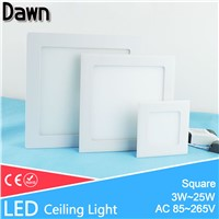 Ultra Thin Square LED Panel Light 3w 4w 6w 9w 12w 15w 18w 25w AC 220V Ceiling Recessed Ceiling led light lamp Lighting Spot Tube