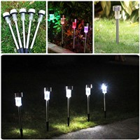 5pcs Led Solar Light Outdoor Stainless Steel Waterproof IP44 Rechargeable Batteries Solar Power LED Garden Lights Lawn Lamp