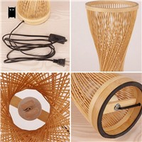 Bamboo Wicker Rattan Spire Vase Table Lamp Fixture Creative Rustic Korean Asian Japanese Style Desk Light Abajur Bedroom Bedside