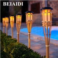 BEIAIDI 10PCS Solar Spike Spotlight Lamps Handmade Bamboo Tiki Torches Light Outdoor Garden Landscape Lawn Lamps With Stake