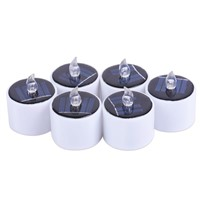 6 Pcs/Set Yellow Flicker LED Lights Solar Power Candles Flameless Electronic Nightlight Candle --M25