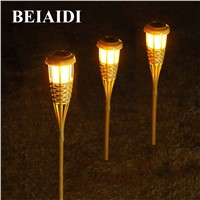 BEIAIDI 10PCS Solar Panel Tiki Torch Garden Light Outdoor Solar Spike Spotlight Bamboo Finish Landscape Lawn Lamps With Stake