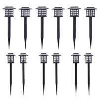 12 x Garden Post Solar Power Carriage Light LED Outdoor Lighting Decoration Garden Lighting Solar Oriental Carriage Lights