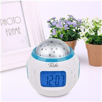 Starry Sky LED Night Light Lamp Projection Music Alarm Clock Thermometer