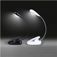 LumiParty 4 LED Reading Night light Lamp Flexible Gooseneck Desktop Clip Light with Stand Music Stand Light USB/Battery powered