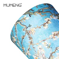 MUMENG Flower Painting Table Lamp E27 Printing Lampshade Blue Glass Lamp PVC Europe Gauge CE Two Feet Flat Plug