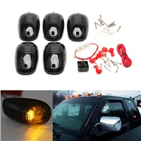 New 5PCS/Set Amber LED Car Cab Roof Marker Running Lights For Truck SUV 4x4 Pickup lamp kit van Black Smoked Lens