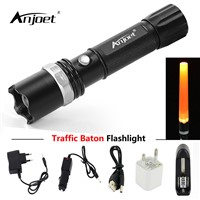 ANJOET Directing traffic flashlight Self-defense flashlamp focus adjustable Q5 traffic police equipment red baton light+charger