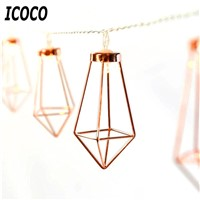 ICOCO 1.5M 10 LED Romantic Rose Gold Metal Diamond Water Drip String Light Patio Lantern for Party Holiday Christmas Decor