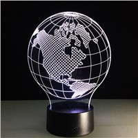 USA Earth Map Light 3D LED Lamp Featuring 3D Wire Frame Images Earth Globe Lamp Handmade Color Changing Lamp 3D Decor Lamps
