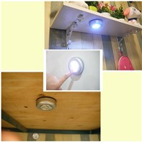 BUYBAY Battery Powered Touch 3 LED Night Light Wireless led Push Wall Lamp Battery Power Cordless For Pathway Stairway Closet
