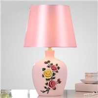 Chinese home living room table lamp stereo speakers daughter Princess wedding room Rooms Hotel pink flower desk lamps ZA9927