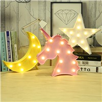 Moon Cactus Cloud Night Light 3D Luminaria Unicorn Star Led Lamp Nightlight Marquee Letter Gift Toys Bedroom Decor For Kids Baby