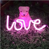 New LOVE Led Neon Sign Neon Light Home Decor Wall Word Romantic Merry Decor Chistmas,Birthday party Room Decor Photography Prop