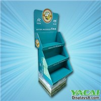 Cardboard retail display stands with shelf
