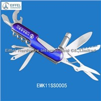 High quality 11 in 1 Multi knife with torch , handle color can be customized (EMK11SS0005-blue)