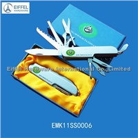 Hot sale 11 in 1 Premium gift knife in paper box with logo on knife and box (EMK11SS0006)