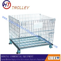 Collapsible Galvanized Storage Wire Mesh Container  With Wheels
