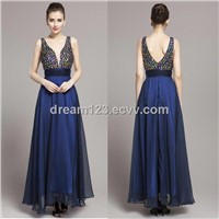New Beading Deep V-Neck Chiffon Long Evening Formal Party Women Dreses