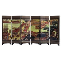 Carved lacquer folding screen
