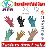 Food service food grade vinyl gloves clear and blue color