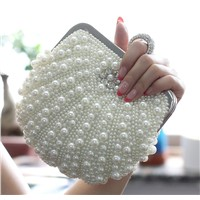Hot seller cheap price pearl ring style bridal clutch purse bag. women messenger should bag