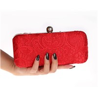 beautiful elegant women's lace clutch purse bag.red evening bag