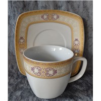 Square Porcelain Cup with Saucer