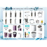 toilet brushes, digital scales, pedal dust bins,luggage rack,acrylic containers