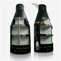 Bottle shape POP Floor Display  shelf for Muxx Oil, easy to assemble, disassemble and store