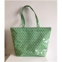 Printed Cotton Coating Shopping Bag,Large Size Ladies Cotton Lamination Tote Bag