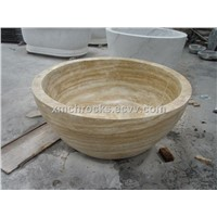travertine stone polished bathtub