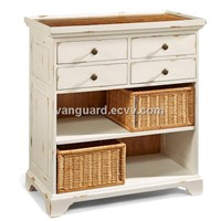 Solid wood/Plank Top Basket Chest