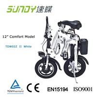 12-Inch Aluminum Alloy Mini Folding Electric Bike-white