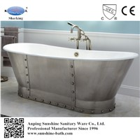 Deep Soaking Cast Iron Bathtub with Rivet